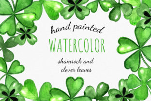 Set of St. Patrick's Watercolor Shamrock Graphic Illustrations By RedDotsHouse