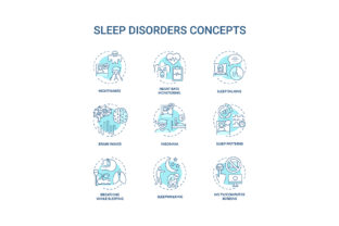 Print on Demand: Sleep Disorder Turquoise Concept Icons Graphic Icons By bsd studio