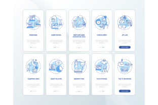 Print on Demand: Sleep Disorders Blue Mobile App Page Set Graphic Graphic Templates By bsd studio
