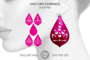 Print on Demand: Unicorn Earrings, SVG, Laser Cut Files Graphic 3D SVG By Artisan Craft SVG
