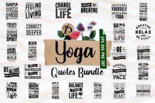 Print on Demand: Yoga Inspirational Quotes Bundle SVG Graphic Print Templates By Universtock