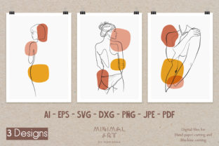 Print on Demand: 3 Design Wall Art/Continuous Line,Woman Graphic Illustrations By Momixzaa
