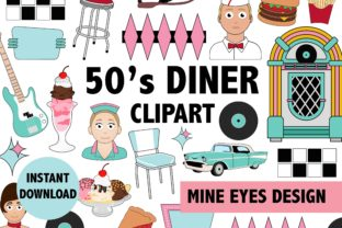 Print on Demand: 50s Diner Clipart Graphic Illustrations By Mine Eyes Design