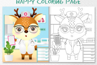 A Cute Deer Nurse - Coloring Page Graphic Coloring Pages & Books Kids By wijayariko