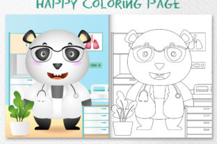 A Cute Panda Doctor - Coloring Page Graphic Coloring Pages & Books Kids By wijayariko