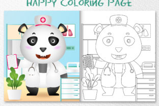 A Cute Panda Nurse - Coloring Page Graphic Coloring Pages & Books Kids By wijayariko