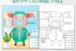 A Cute Pig Medical - Coloring Page Graphic Coloring Pages & Books Kids By wijayariko