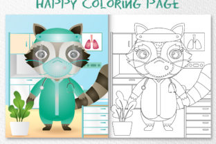 A Cute Raccoon Medical - Coloring Page Graphic Coloring Pages & Books Kids By wijayariko
