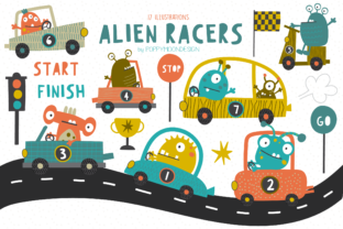 Print on Demand: Alien Racers Clipart Set Graphic Illustrations By poppymoondesign