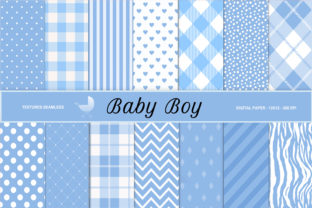 Print on Demand: Baby Boy Digital Paper, Buffalo Plaid Graphic Backgrounds By The Rose Mind
