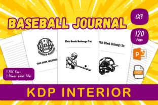 Print on Demand: Baseball Lined Journal for KDP Interior Graphic KDP Interiors By IsaraDesign