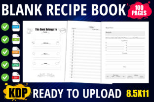 Blank Recipe Book Interior with Index Graphic KDP Interiors By XpertDesigner