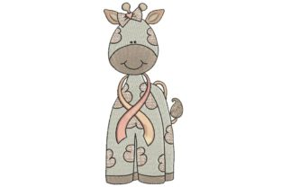 Breast Cancer Ribbon Giraffe Awareness Embroidery Design By BabyNucci Embroidery Designs