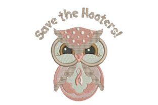 Breast Cancer Ribbon Save the Hooters Awareness Embroidery Design By BabyNucci Embroidery Designs