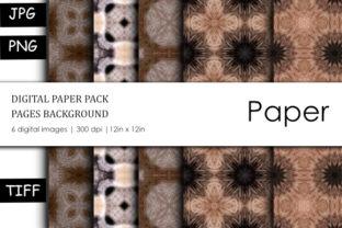 Print on Demand: Brown Geometric Pattern Digital Paper Graphic Backgrounds By stanosh