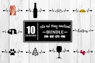 Print on Demand: Cut Heartbeat Bundle Funny Heartbeat Graphic Crafts By Whistlepig Designs