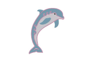 Print on Demand: Cute Blue Dolphin Marine Mammals Embroidery Design By EmbArt