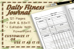 Daily Fitness Journal Interior Graphic KDP Interiors By TheDigitalAxolotl