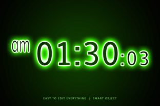 Digital Clock Neon Style 3d Text Effect Graphic Layer Styles By grgroup03