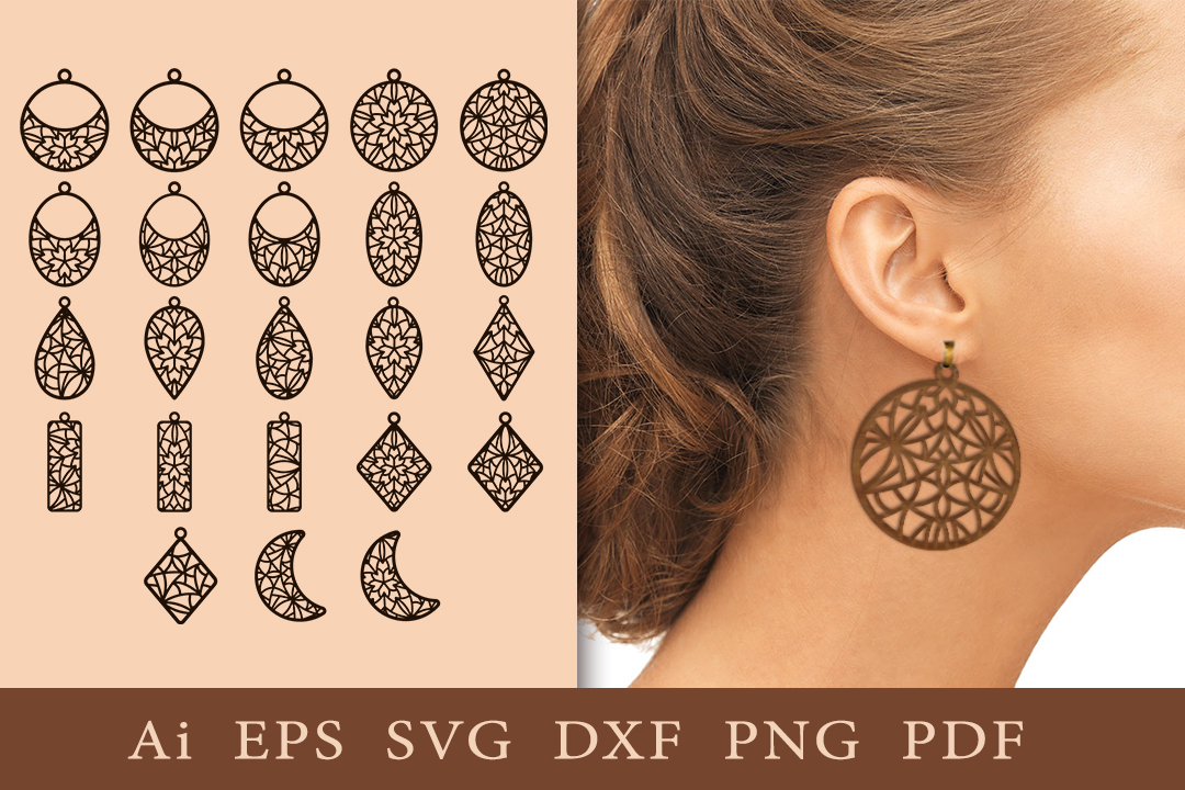 Earrings with Openwork Patterns. SVG SVG File