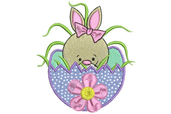 Easter Delight Bunny Applique 2 Easter Embroidery Design By BabyNucci Embroidery Designs