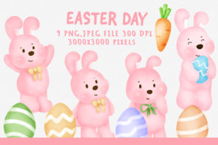 Easter Rabbit and Easter Egg Clipart. Graphic Illustrations By nattapohncha