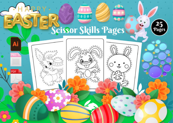 Print on Demand: Easter Scissors Skills Pages - Vol 1 Graphic KDP Interiors By Creative Designer