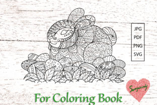 Easter Bunny for Coloring Book Graphic Coloring Pages & Books Adults By somjaicindy