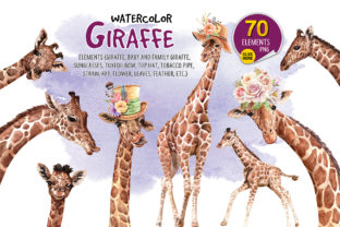 Print on Demand: Giraffe Watercolor, Paint Clip Art Graphic Illustrations By SapG Art