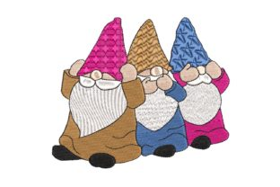 Gnomes See, Hear or Speak No Evil Fairy Tales Embroidery Design By BabyNucci Embroidery Designs