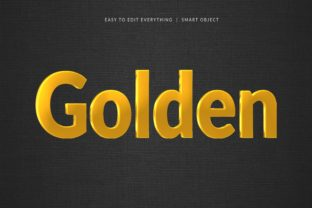 Print on Demand: Golden 3d Shiny Style Text Effect Graphic Layer Styles By grgroup03