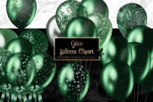 Print on Demand: Green Balloons Clipart Graphic Illustrations By Digital Curio