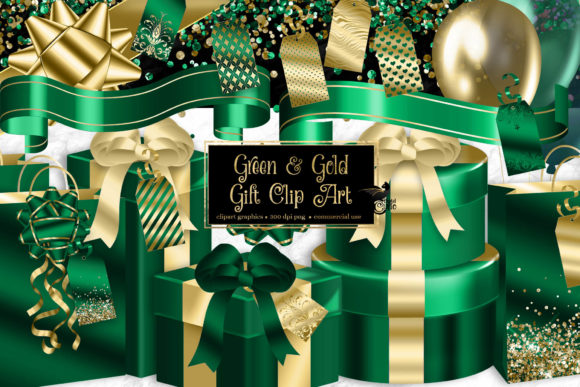 Print on Demand: Green and Gold Gift Clipart Graphic Illustrations By Digital Curio