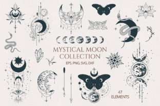 Hand Drawn Mystical Moon Collection Grafik Illustrationen von Kirill's Workshop