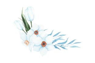 Print on Demand: Handprinted Watercolor Light Blue Flower Graphic Illustrations By AmitDebnath