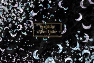 Print on Demand: Holographic Moon Glitter Clipart Graphic Illustrations By Digital Curio