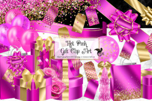 Print on Demand: Hot Pink Gift Clipart Graphic Illustrations By Digital Curio
