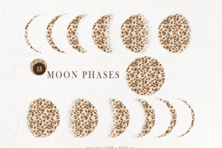 Print on Demand: Leopard Boho Moon Phases Clipart Graphic Objects By Tiana Geo