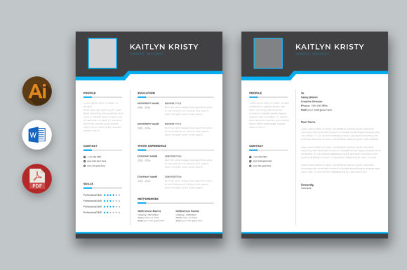 MS Word Resume and Cover Letter Graphic Print Templates By inpixell.studio