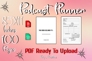 Podcast Planner Diary Unique Interior Graphic KDP Interiors By Kdp_Hustlers
