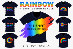Rainbow Typography T-shirt Design Bundle Graphic Graphic Templates By VectStock
