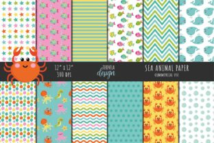 SEA ANIMALS PAPER, SUMMER, POOL PARTY Graphic Illustrations By TereVela Design