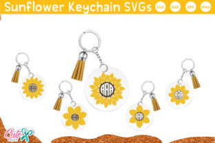 Sunflower Frames Keychain SVG Graphic Crafts By Cute files