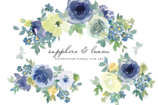 Watercolor Floral Sapphire Lemon Clipart Graphic Illustrations By Patishop Art