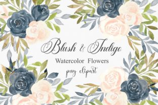 Print on Demand: Watercolor Flowers Blush and Indigo Graphic Illustrations By PinkPearly