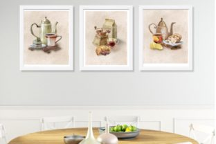 Watercolor Set Poster Coffee and Tea Graphic Illustrations By Marine Universe