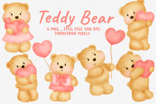 Watercolor Teddy Bear  Bundle Clipart . Graphic Illustrations By nattapohncha