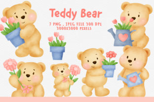Watercolor Teddy Bear Clipart Bundle. Graphic Illustrations By nattapohncha