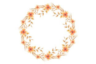 Print on Demand: Watercolor Floral Wreath Frame Graphic Illustrations By AmitDebnath