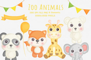 Zoo Animals Png Clipart. Graphic Illustrations By nattapohncha